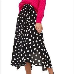 NWT Topshop Polka Dot Midi Skirt